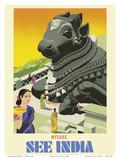 Mysore - See India - Sitting Nandi Bull Statue Arte