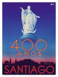 Santiago, Chile - 400 Anos (400 Years) Anniversary - Virgin Mary Statue, San Cristobal Hill Láminas