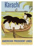 Karachi - Pakistan - Boat - American President Lines Poster von Al Merenchen
