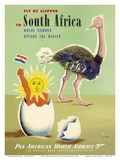 Fly by Clipper to South Africa - Where Summer Spends the Winter - Pan American World Airways Poster by Jean Carlu