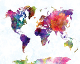World Map II Watercolor Posters