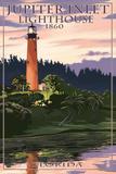 Jupiter Inlet Lighthouse - Jupiter, Florida Muovikyltit tekijänä  Lantern Press