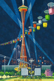 Space Needle Worlds Fair Poster - Seattle, WA Plastskilt av  Lantern Press