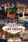 Las Vegas Casinos and Hotels Montage Cartel de plástico por  Lantern Press