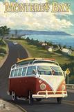 Monterey, California - VW Van Plastikschild von  Lantern Press
