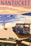 Nantucket, Massachusetts - Woody on Beach Plastikschild von  Lantern Press
