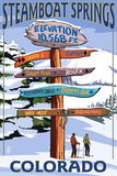Steamboat Springs, Colorado - Ski Run Signpost Signe en plastique rigide par  Lantern Press