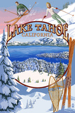 Lake Tahoe, CA Winter Views Plastikschild von  Lantern Press