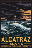 Alcatraz Island Night Scene - San Francisco, CA Plastikschild von  Lantern Press