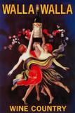 Women Dancing with Wine - Walla Walla, Washington Cartel de plástico por  Lantern Press