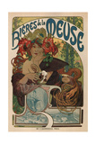 Beers of the Meuse Premium Giclée-tryk af Alphonse Mucha