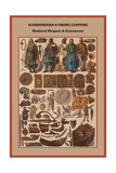 Scandinavian and Viking Costume Medieval Weapons and Armaments Prints by Friedrich Hottenroth