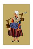 Fisherwoman from the Coast of Artois Carries Shovel for Digging Clams Kunstdrucke von Elizabeth Whitney Moffat