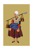 Fisherwoman from the Coast of Artois Carries Shovel for Digging Clams Posters by Elizabeth Whitney Moffat