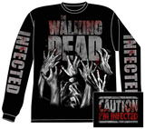 Long Sleeve: The Walking Dead- Infected Hands (Front/Back) 長袖Tシャツ