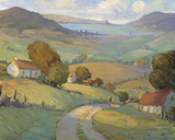 Rolling Hills and Ocean Giclee Print by Hugh O'neill