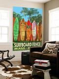 Maui, Hawaii - Surfboard Fence Seinämaalaus tekijänä  Lantern Press
