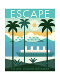 Vintage Travel Island Escape 高画質プリント : マイケル・ミューラン