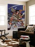 The Samurai Warriors Ichijo Jiro Tadanori and Notonokami Noritsune, Japanese Wood-Cut Print Wall Mural by  Lantern Press