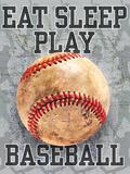 Eat Sleep Play Baseball Kunstdrucke von Jim Baldwin