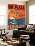 Maui, Hawaii - Windsurfers Scene at Sunset Seinämaalaus tekijänä  Lantern Press