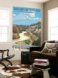 Badlands National Park, South Dakota - Road Scene Seinämaalaus tekijänä  Lantern Press
