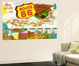 Map of Route 66 from Los Angeles to Chicago Vægplakat af  Lantern Press