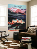 Banff, Alberta, Canada - Overview of the Banff Springs Hotel Poster Poster géant par  Lantern Press