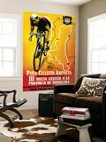 Polkupyöräkilpailun mainos Seinämaalaus tekijänä  Lantern Press