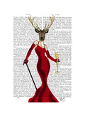 Glamour Deer in Red Prints by  Fab Funky
