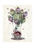 Dodo Balloon with Dragonflies Kunstdruck von  Fab Funky