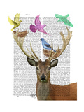 Deer and Birds Nests Pastel Shades Art by  Fab Funky