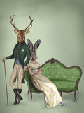 Mr Deer and Mrs Rabbit Kunstdruck von  Fab Funky