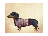 Dachshund With Woolly Sweater Posters af  Fab Funky