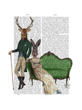 Mr Deer and Mrs Rabbit Prints by  Fab Funky