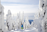 A Skier Stands Amid Snow Covered Trees at the Big White Ski Resort Photographic Print by Michael Hanson