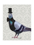 Pigeon in Waistcoat and Top Hat Art par  Fab Funky
