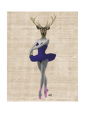 Ballet Deer in Blue Affiche par  Fab Funky