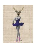 Ballet Deer in Blue Giclée-Premiumdruck von  Fab Funky