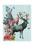Turquoise Deer in Mushroom Forest Lámina giclée prémium por  Fab Funky