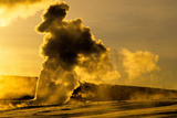 Old Faithful Geyser Erupts at Sunrise Photographic Print by Tom Murphy