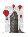 Flat Iron Building and Red Hot Air Balloons Affiche par  Fab Funky