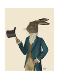 Hare in Turquoise Coat Plakater af  Fab Funky