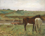 Horses in a Meadow, 1871 Giclée-tryk af Edgar Degas