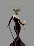 Glamour Deer in Black Print by  Fab Funky