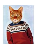 Cat in Ski Sweater Giclée-Premiumdruck von  Fab Funky
