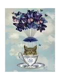 Owl in Teacup Kunstdrucke von  Fab Funky