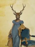 Deer in Blue Dress Prints by  Fab Funky