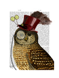 Owl with Top Hat Lámina giclée prémium por  Fab Funky