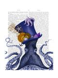 Octopus Nautical Hat Giclée-Premiumdruck von  Fab Funky
